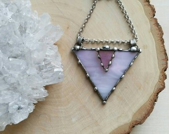 Pretty in Pink Geometric Triangle Stained Glass Necklace