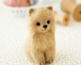 Japanese Needle Wool Felt Mascot DIY Kit, Kawaii  Pomeranian Dog, Sachiko Susa, Hamanaka Cute Wool Felt Kit, Japanese Felting Supply, F180