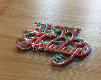10 Happy Holidays Die Cuts / Foil / Christmas / Embellishment / Scrapbook /
