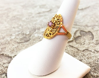 Purple and Gold Filigree Ring, Vintage Gold and Purple Ring, Purple Rhinestone Ring, Hippie Rings, Boho Rings, Size 7 Gold Rings For Women