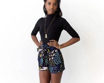 Tie Around Pleated Shorts - Hand Printed - Organic Cotton  -Slow Fashion - Eco Fashion - Black 'Field of Dreams' - Thief and Bandit®