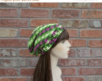 Green Slouchy Beanie, Pink and Green, Crochet Hat, Hats for Women and Teens, Street Wear, Slouch Hat, Winter Hat, Cute Hats, Cute Beanie