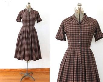 1950s Dress / 50s Brown and Black Plaid Full Skirt Dress