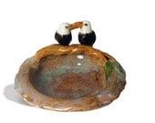 American bald eagle figurine trinket dish or sweet dish / ooak / keys coins pins ashtray / keepsake dish by Anita Reay