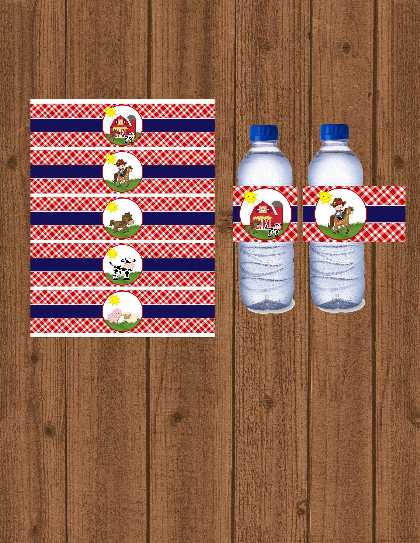 Farm Water Bottle Wrapper Farm Birthday Farm Water