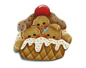 Gingers in Waffle Bowl Fridge Magnet or Ornament, Handpainted Wood Gingerbread Hand Painted Refrigerator Magnet, Tole Decorative Painting