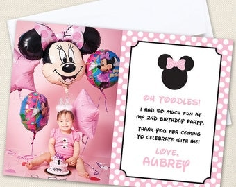 Minnie Mouse Photo Thank You Cards (Baby Pink) - Professionally printed *or* DIY printable