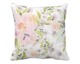Floral Pillow Cover Pink and Green Wildflowers