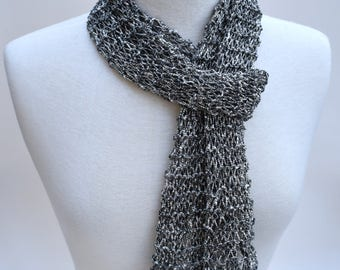Cotton Scarf- Hand Knit/ Gray/ White/ Flecked