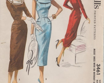 McCalls 3461 / Vintage 50s Sewing Pattern / Dress / Size 12 Bust 30