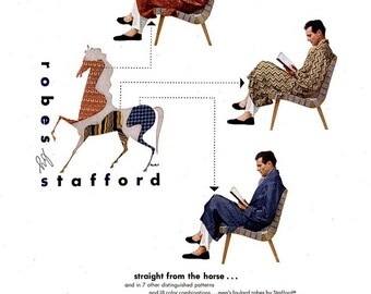 1946 Stafford Robes Men Fashion Advertisement Print Ad Poster Dapper Debonair Department Store Man Sitting Reading Horse Wall Art Home Decor