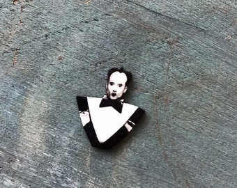 Klaus Nomi lapel pin goth new nu wave music jewelry black and white button pinback