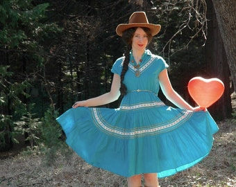 50s Western Dress... Patio Square Squaw Dress... Sky Blue... Sweetheart of the Rodeo