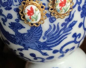 Shabby chic Earrings,Red Rose Earrings,Vintage Limoges Earrings,Floral Earrings,Gold Plated Clip on Rose NOS #1563B