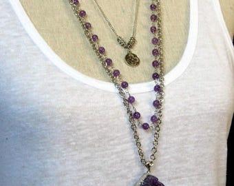 Long multi strand Amethyst pendant necklace