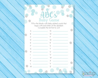 Blue and Silver ABC's Baby Shower Game, ABC Baby Game Boy Baby Shower Activity, Blue and Silver Glitter Confetti, PRiNTABLE INSTANT DOWNlOAD