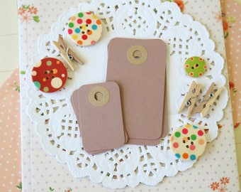 Almond Crush Brown reinforced Rounded Midi Tags