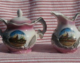 Vintage Pink Dragonware Corn Palace, Mitchell, South Dakota Creamer and Sugar Miniature