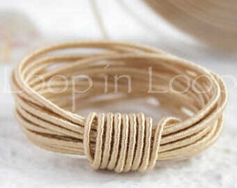 Beige SILK cord, Wrapped Silk Satin Cord rope 1.5 mm thick, organic natural hand spun silk, polyester core, Jewelry Supplies (3 feet)