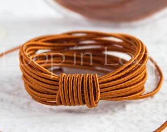 Copper Brown SILK cord, Wrapped Silk Satin Cord rope 1.5 mm thick, organic natural hand spun silk, polyester core, for Jewelry (3 feet)