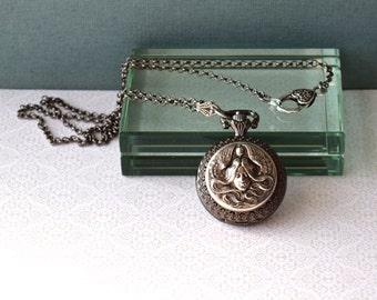 Pocket Watch Locket Necklace Set Black Onyx Earrings Steampunk Art Nouveau Maiden Unique Vintage Wedding Anniversary Birthday Women's Gift