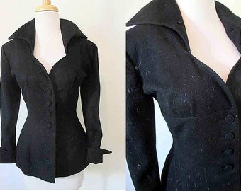 Stunning 1950's Designer Lilli Ann Cocktail Jacket Fitted Hourglass Shelf Bust Vintage  Jacket Chic Pinup Girl Rockabilly VLV Size Medium