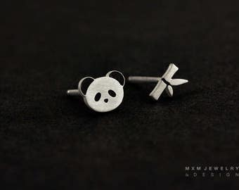 Sterling Silver Panda & Bamboo Stud Earrings