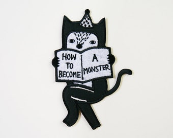 How To Become A Monster (Cat Version) Iron On Patch - Cat Embroidered Patch - Cute Embroidered Applique - Wearable Art