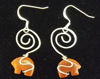 Wire wrapped bear fetish earrings. Various colors.