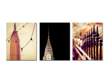 SALE, New York Photography Set 3 Prints Gold and Black New York City Print Set 8x10 Vertical Photos