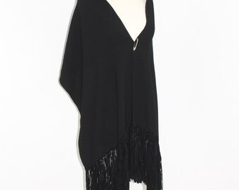Vintage GIANNI VERSACE COUTURE Wool Suede Leather Fringe Tassel Shawl Wrap -Deadstock-