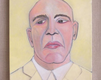 Original Fine Art Male Portraiture Painting, Portraits of Men, Masculine Art, Wil Shepherd Studio, 12 x 16, Gallery Wrapped Canvas,Handmade