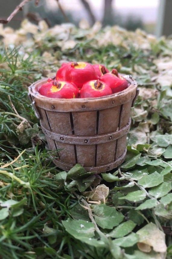 Miniature Apples, Bushel of Apples, Fairy Garden Accessory, Miniature Garden Decor, Shelf Sitter, Topper, Zen Garden Accessory, Mini Apples