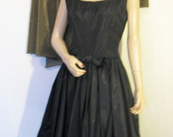 Vintage 50s Black Satin Bubble Dress, Small