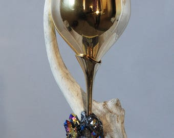 Ceremonial Brass Chalice With Green Calcite  for Wiccan Ceremonial Alter Ritual Tool Goblet Deer antler Horn goblet