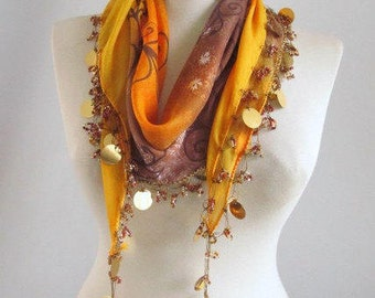 Autumn color mixed colorful, Traditional Turkish Yemeni,Oya  Scarf,authentic, elegant, fashion,weddings,bridal,vintage,rustic