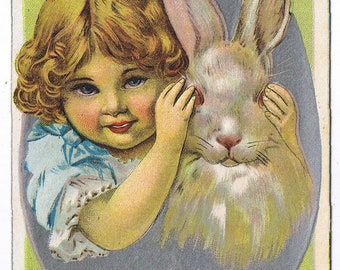 Easter Greeting - Peek a Boo - Young Child - Bunny Rabbit - Easter Egg - Divided Back Era - Printed Post Card