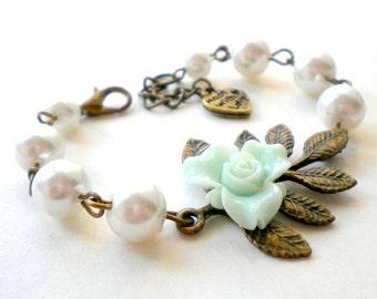 Flower Girl Bracelet Mint Bracelet Woodland Wedding Jewelry Flower Girl Gift Leaf Bracelet Little Girl Jewelry Pearl Children Bracelet