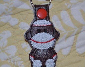 Sock Monkey Key Chain, Sock Monkey Key Fob, Luggage Tag, Attaches to Zippers, Purses