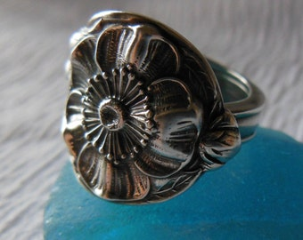 Woodland Rose   Spoon Ring  Antique  Sterling Silver  Size 6.5