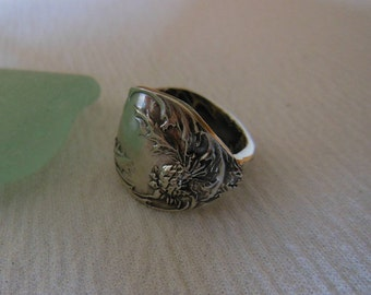 Thistle   Antique Spoon Ring  Sterling Silver  Size 6.5