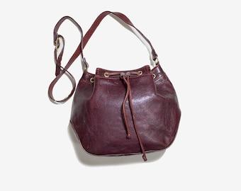 Vintage Leather Bucket Bag / Oxblood Bucket Bag / Drawstring Purse / Leather Drawstring Bag