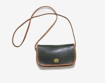 Vintage Mini Leather Bag / Two Tone Leather Purse / Mini Satchel / Satchel Purse / Mini Crossbody Purse