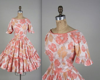 1950s floral patio dress • vintage 50s dress • western summer dress