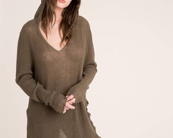 NEW Cotton/Linen Sweater / Hoody Sweater / Summer Hoodie Sweater / Knitted Sweater / Asymmetric Sweater / marcellamoda - MB858
