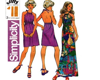 Simplicity 9927 Womens Jiffy Halter Maxi Backless Pillowcase Dress 1970s Vintage sewing pattern Size 14 Bust 36 inches