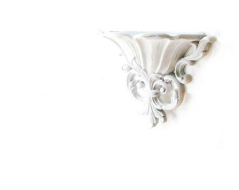 Vintage Wall Sconce  Fleur de lis Wall Pocket Vase.  French Shabby Chic Romantic Decor