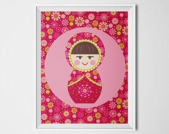 Russian Doll Print,  8x10, Instant Download, Multi-culture Nursery Wall Art, Babushka Doll Art Print, Pink Nursery, Cultural Art Print