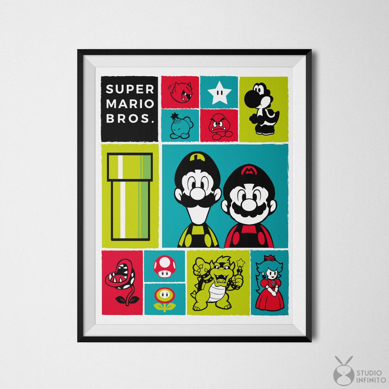 Super Mario Poster Super Mario Icon Print Mario Icons Video