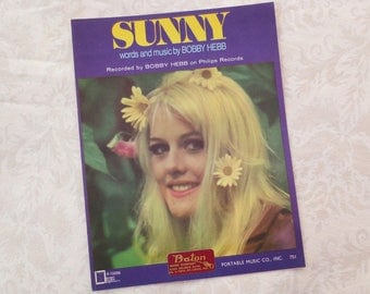 1966 Sunny Vintage Sheet Music, Words and Music by Bobby Hebb